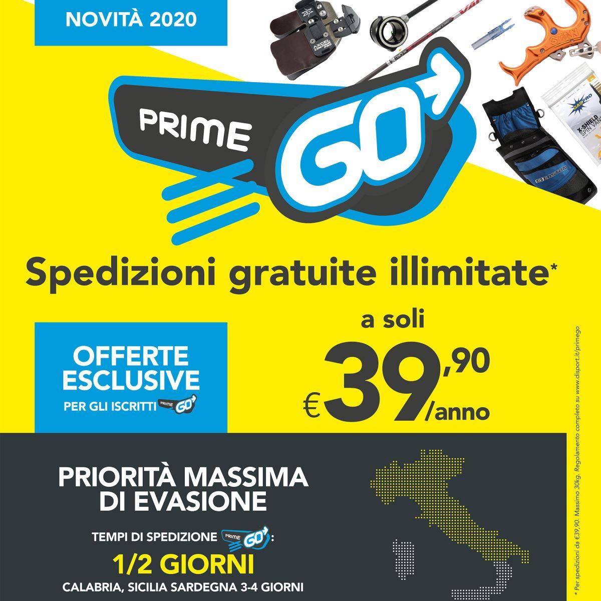 Scopri di più su Prime Go e inizia le tue spedizioni Illimitate!